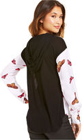 eric + lani Juniors' Hooded Butterfly-Print Top