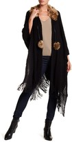Cejon Faux Fur Collar Solid Shawl