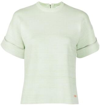 Victoria Victoria Beckham Marl-Knit Short-Sleeved Top