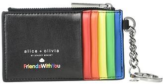 Alice + Olivia Regina Printed Zip Top Card Case (Friends with You Collage/Black) Wallet Handbags
