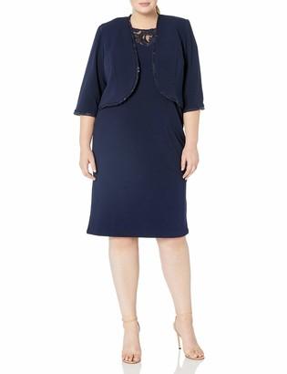 Maya Brooke Women's Plus Size LACE MESH Trim Jacket Dress