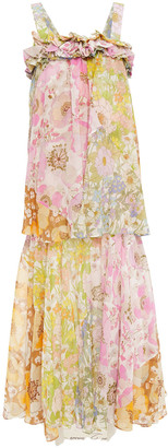 Zimmermann Ruffled Floral-print Cotton And Silk-blend Chiffon Maxi Dress