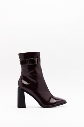Nasty Gal Womens Doin' It For Clicks Patent Faux Leather Boots - Burgundy