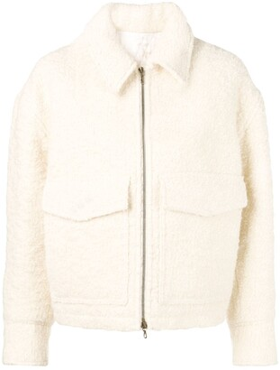 Ami Zipped Jacket With Shearling Collar