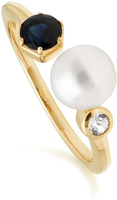 Gemondo Modern Pearl, Sapphire & Topaz Open Ring In Gold Plated Sterling Silver