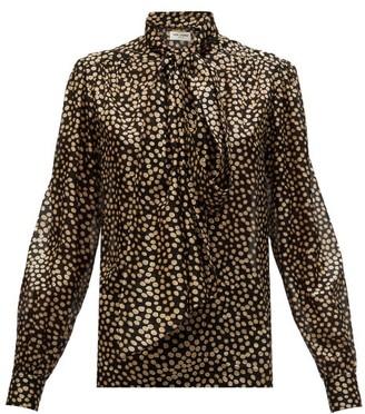 Saint Laurent Pussy-bow Polka-dot Silk Fil-coupe Blouse - Black Multi