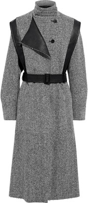 Stella McCartney Belted Faux Leather-trimmed Marled Wool-tweed Coat