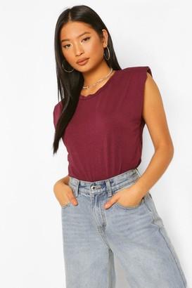 boohoo Petite Shoulder Pad T-Shirt