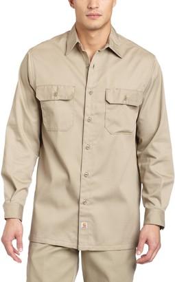 Carhartt Men's Big & Tall Twill Long Sleeve Relaxed Fit Work Shirt Button Front