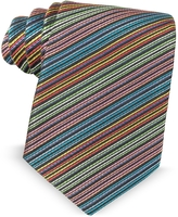Missoni Multicolor Diagonal Striped Silk Narrow Tie