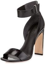 Halston Marylan Mirrored-Leather Flat-Heel Sandal, Black
