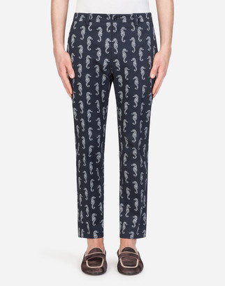 Dolce & Gabbana Stretch Cotton Pants In Seahorse Print