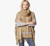 Johnston & Murphy Cowl Neck Windowpane Poncho