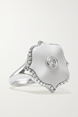 Bayco Platinum, Diamond And Ceramic Ring - Silver