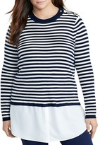 Lauren Ralph Lauren Plus Mixed Media Stripe Sweater
