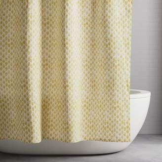 west elm Organic Stamped Dots Shower Curtain - Horseradish