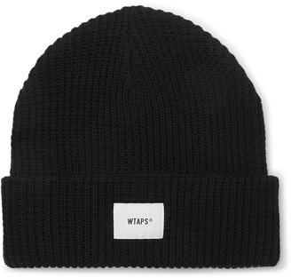 WTAPS - Appliqued Waffle-knit Cotton-blend Beanie - Black