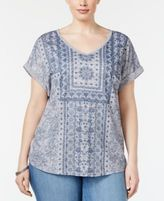 Style&Co. Style & Co Plus Size Medallion-Print Top, Only at Macy's