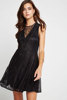 BCBGeneration Mixed Lace Fit-and-Flare Dress - Black