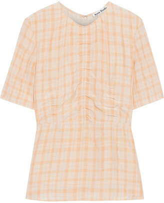 Acne Studios Taty Ruched Gingham Shell Peplum Top