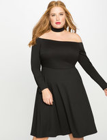 ELOQUII Plus Size Off the Shoulder Floating Collar Dress