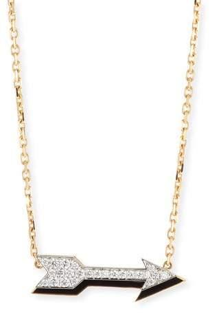 David Webb Motif 18k Gold Diamond Arrow Pendant Necklace with Black Enamel