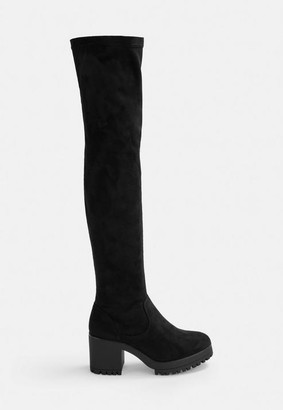 Missguided Black Faux Suede Cleated Over The Knee Boots