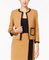 Nine West Crepe Open-Front Framed Jacket