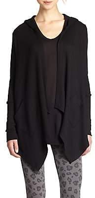Splendid Women's Hooded Draped Thermal Cardigan