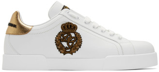 Dolce & Gabbana White and Gold Crest Portofino Sneakers