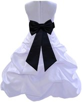 ekidsbridal Wedding Pageant Bridesmaids Party Formal Satin White Flower Girl Dress0t