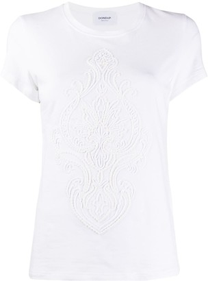 Dondup embroidered front cotton blend T-shirt