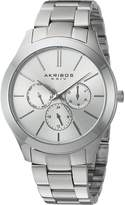 Akribos XXIV AK952SS Women's Quartz Stainless Steel Automatic Watch, Silver-Toned