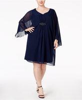 Connected Plus Size Illusion-Sleeve Chiffon Shift Dress