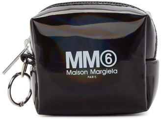 MM6 MAISON MARGIELA Black Holographic Small Square Coin Pouch