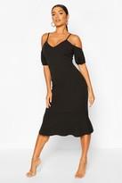 boohoo Cold Shoulder Puff Sleeve Peplum Hem Midi Dress