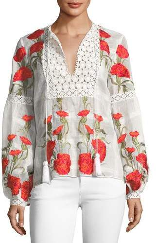 Alexis Dorit Split-Neck Long-Sleeve Floral-Embroidered Top