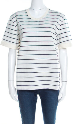 Louis Vuitton White and Navy Blue Striped Jersey Short Sleeve T-Shirt XL