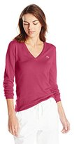 Lacoste Women's Long Sleeve Cotton Double V Neck Collar Sweater