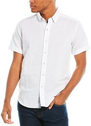 Robert Graham Tranverse Tailored Fit Linen-Blend Woven Shirt