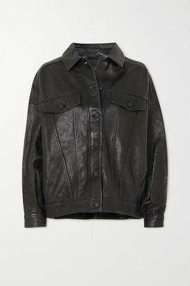 J Brand Drew Oversized Leather Jacket - Black