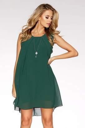 Quiz Green Frill Shoulder Necklace Tunic Dress
