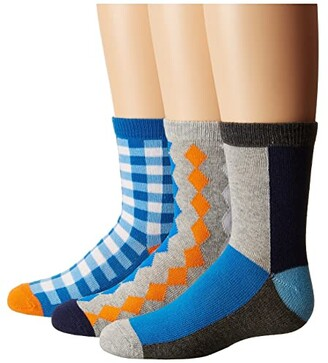Jefferies Socks Gingham/Color Block/Argyle Crew Socks 3-Pair Pack (Toddler/Little Kid/Big Kid) (Multi) Boys Shoes