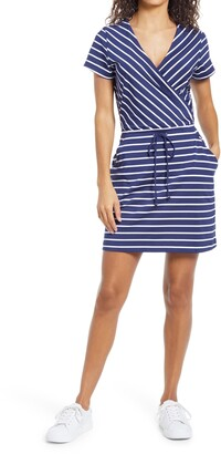 Vineyard Vines Sankaty Stripe Faux Wrap Dress