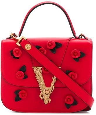 Versace Virtus rose applique shoulder bag