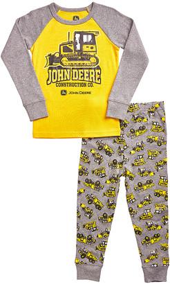 John Deere Boys' Sleep Bottoms CONSTRUCTION - Gray & Yellow Construction Pajama Set - Infant