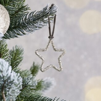The White Company Beaded Star Christmas Decoration, Silver, One Size