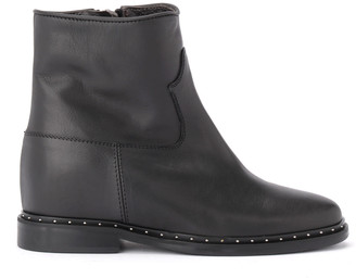 Via Roma 15 Black Rome 15 Leather Ankle Boots With Applied Micro-studs