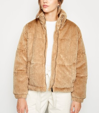 New Look Ribbed Faux Fur Jacket