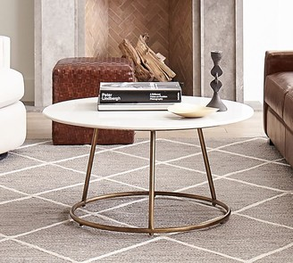 """Pottery Barn Blair 35.5"""" Round Marble Coffee Table"""